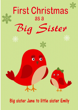 Personalised Big Sister to Little Sister Christmas Card Design 3